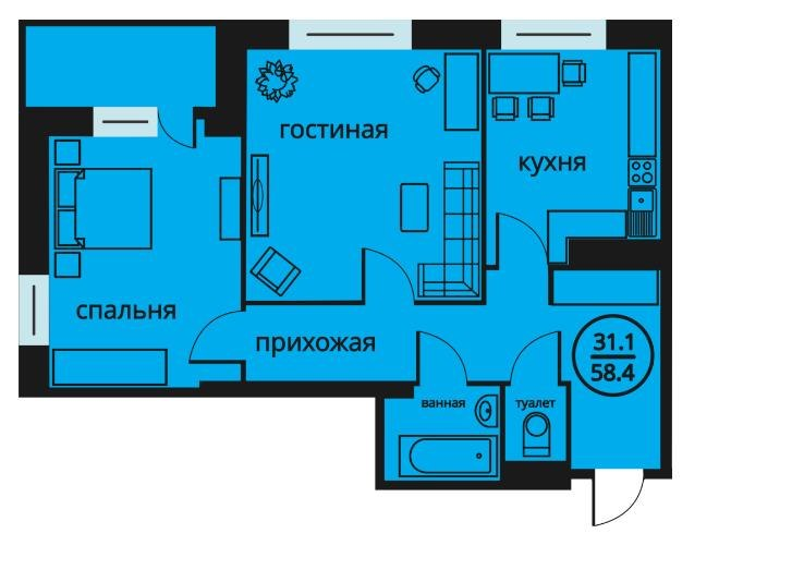 Продажа квартир: 2-комнатная квартира в новостройке, Тюмень, ул. Мельникайте, фото 1