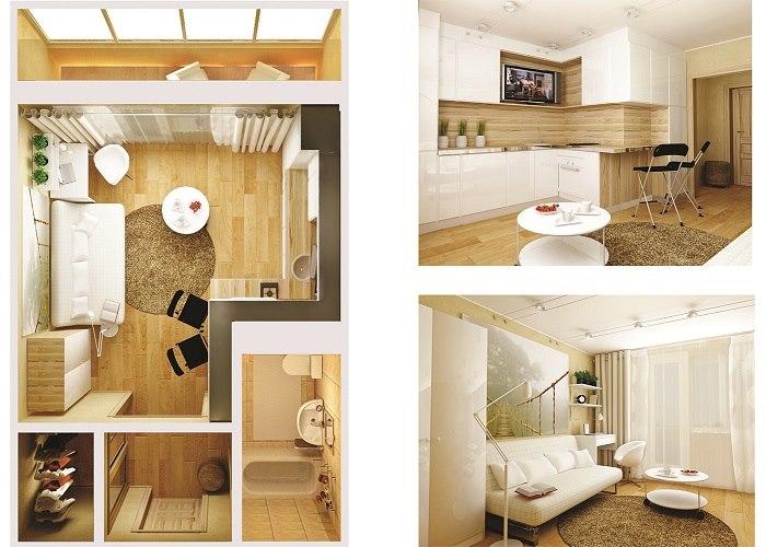 """Дизайн квартиры студии 28 кв.м фото угловая """" креативный диз."""