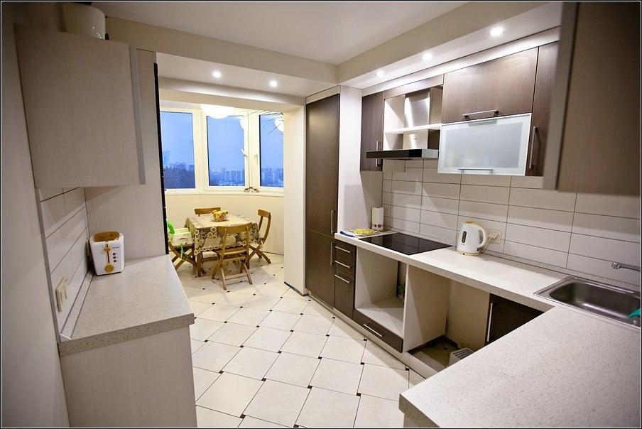 """Кухня в стиле модерн со столовой на балконе."""" - карточка пол."""